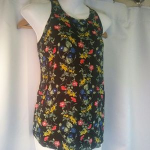 Old Navy Sleeveless Black Floral Blouse, M